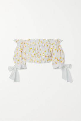 Carolina Herrera Cropped Ruffled Printed Stretch-cotton Poplin Top - White