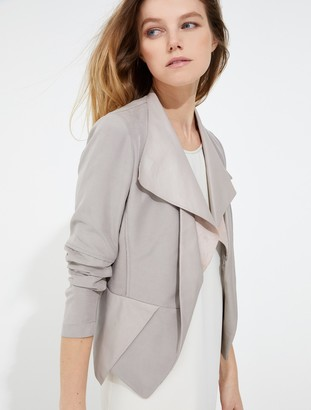Halston Leather twill combo jacket