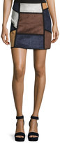 Romeo & Juliet Couture Faux-Suede Patchwork Skirt, Gray Combo