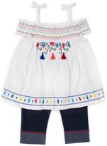 Little Lass Ivory Peasant Top & Denim Capri Pants - Infant Toddler & Girls