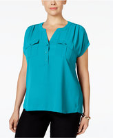 INC International Concepts Plus Size Mixed-Media Utility Shirt, Only at Macy's