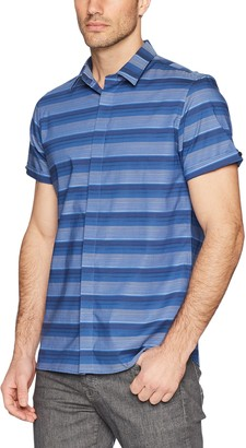 Calvin Klein Men's Short Sleeve Button Down Stripe Shirt