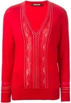 Roberto Cavalli studded pinstriped sweater