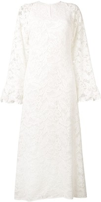 Giamba Wide Sleeve Lace Maxi Dress