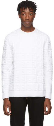Fendi White Embossed Wool Forever Sweater