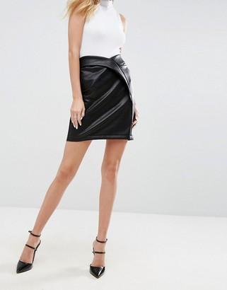 Asos DESIGN textured leather look mini skirt