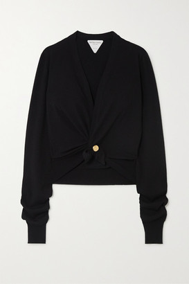 Bottega Veneta Cropped Embellished Cashmere-blend Cardigan - Black