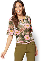 New York & Co. 7th Avenue - Shirred Keyhole Top - Floral