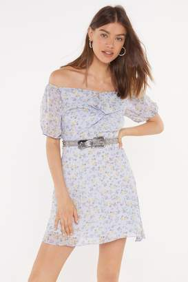 Nasty Gal Womens Love Buzz Floral Off-the-Shoulder Dress - blue - 12