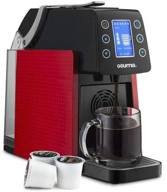 Gourmia 1 Touch Programmable Single Serve Coffee and Espresso Maker Machine, Red