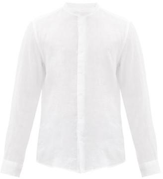 Altea Band-collar Slubbed-linen Poplin Shirt - Mens - White