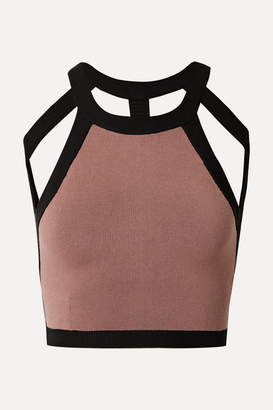 Nagnata - Net Sustain Cropped Open-back Technical Stretch-organic Cotton Top - Blush
