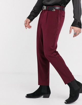 Asos DESIGN heavyweight smart tapered tuxedo pants in burgundy