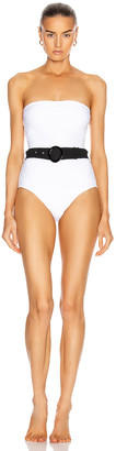 Solid & Striped Madeline Belt Swimsuit in White Embossed Floral | FWRD