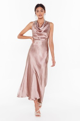 Nasty Gal Womens Cut-Out to Party Satin Cowl Dress - Pink - 12