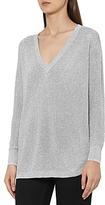 Reiss Bless Metallic V-Neck Sweater