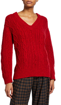 Vince V-Neck Cable-Knit Sweater