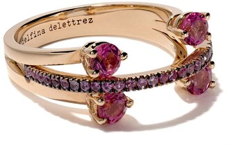 Delfina Delettrez 18kt rose gold, tourmaline and sapphire Linked Dots ring