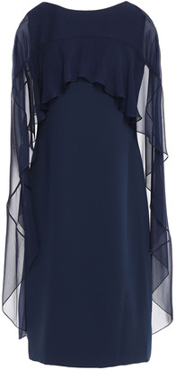 Reem Acra Cape-effect Chiffon-paneled Cady Dress