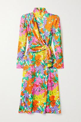 Alessandra Rich Draped Floral-print Silk-jacquard Midi Dress - Yellow