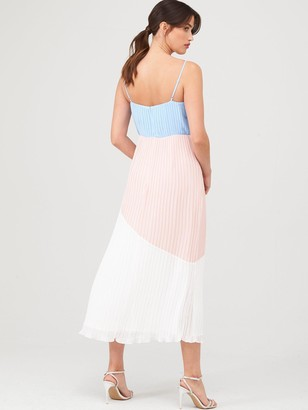 Warehouse Colourblock Cami Dress - Pale Pink