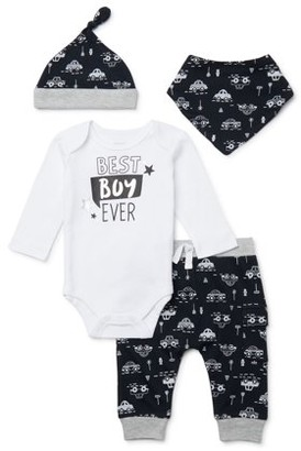 Miniville Baby Boys Bodysuit, Pants and Hat Outfit Set, 4-Piece