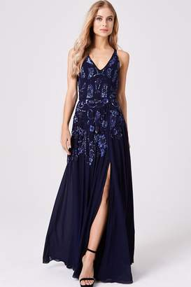 Little Mistress Luxury Rylie Navy Hand-Embellished Maxi Dress