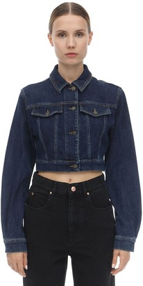 Moschino Bear Logo Cropped Cotton Denim Jacket