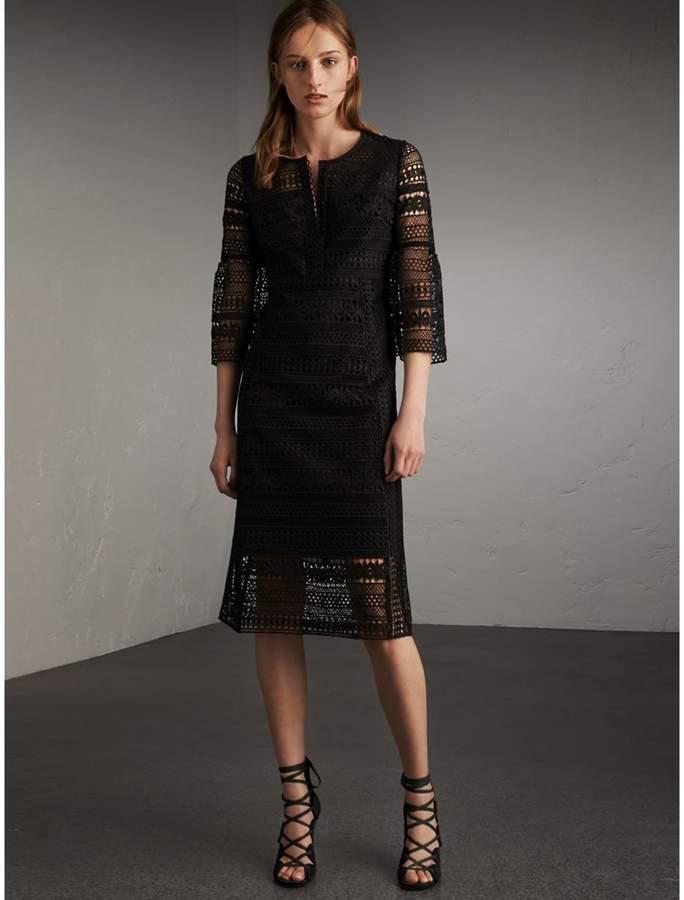 Burberry Puff-sleeve Macramé Lace Dress