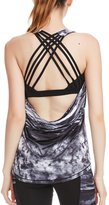 icyzone Women's Workout Yoga Fitness Sports Strappy Crisscross Printed Tank Tops with Built in Bra (L, )
