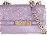 Moschino Logo metallic leather shoulder bag