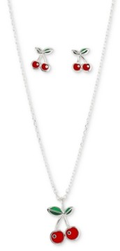 Unwritten 2-Pc. Set Enamel Cherries Pendant Necklace & Matching Stud Earrings in Fine Silver-Plate, Created for Macy's