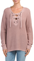 Juniors Lace Up Front Sweater