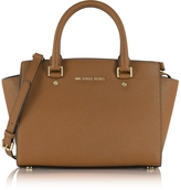 Michael Kors Selma Medium Luggage Saffiano Leather Top-Zip Satchel Bag