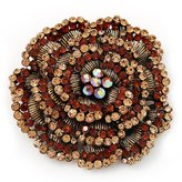 Avalaya Spectacular Brown Dimensional Rose Brooch (Antique Gold Tone)