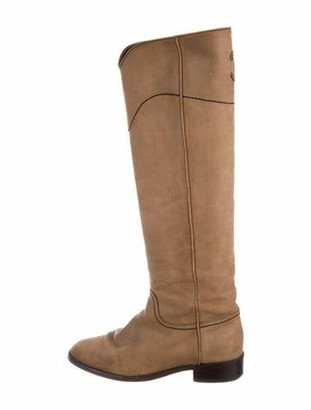Chanel Suede CC Boots Tan