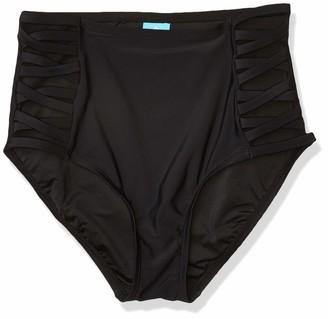 Coastal Blue Women's Swimwear High Waist Bikini Bottom Ebony XS (0-2)