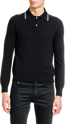 Alexander McQueen Men's Long-Sleeve Striped-Collar Polo Sweater