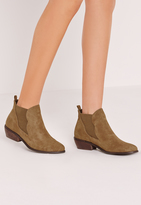 Missguided Khaki Faux Suede Chelsea Ankle Boots