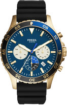 Fossil Men's Chronograph Crewmaster Black Silicone Strap Watch 46mm CH3074