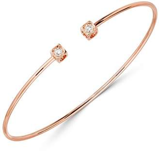 Dinh Van 18K Rose Gold Le Cube Diamant Bangle Bracelet with Diamonds