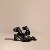 Burberry Patent Leather Sandals with Buckle and Check Detail