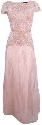 Adrianna Papell Women's Scallop Sleeve Beaded Organza Long Gown