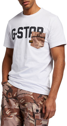 G Star Men's GS Raw Logo Camo-Pocket T-Shirt