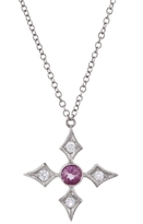 Cathy Waterman Pink Sapphire and Diamond Cross Necklace