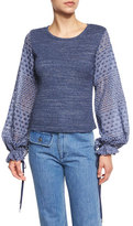 See by Chloe Long-Sleeve Mixed-Media Top, Indigo