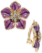 Charter Club Gold-Tone Purple Flower Crystal Clip-On Stud Earrings, Only at Macy's