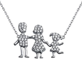 Cosanuova Sterling Silver Family Pendant One Girl Necklace