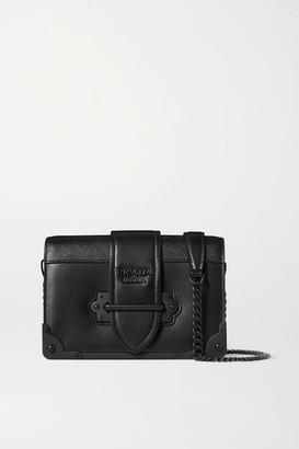 Prada Cahier Small Leather Shoulder Bag - Black