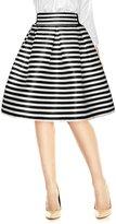 Allegra K Women Striped High Waist Pleated A-Line Skirt L Black